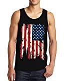 SpiritForged Apparel Vintage Distressed USA Flag Men's Tank Top, Black 2XL