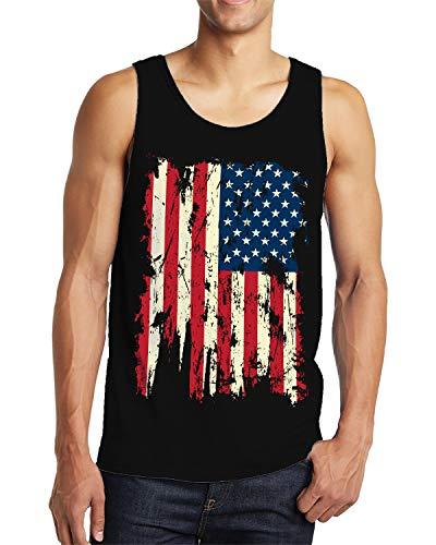 SpiritForged Apparel Vintage Distressed USA Flag Men's Tank Top, Black Large