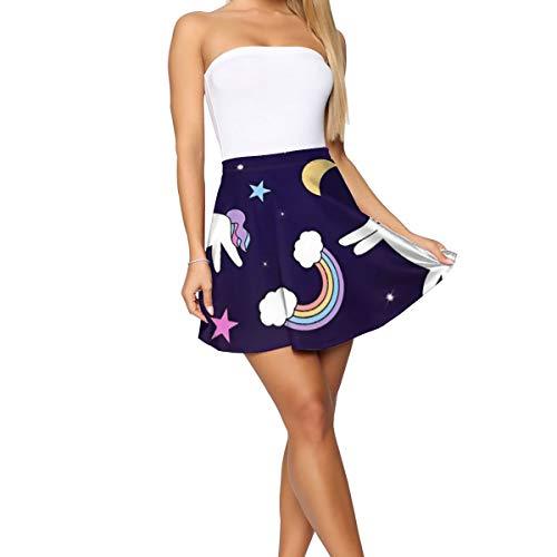Women's Casual Fashion Flared Short Skirt Starry Night Moon Cupcake Unicorn Skirt Mini Skater Skirt White