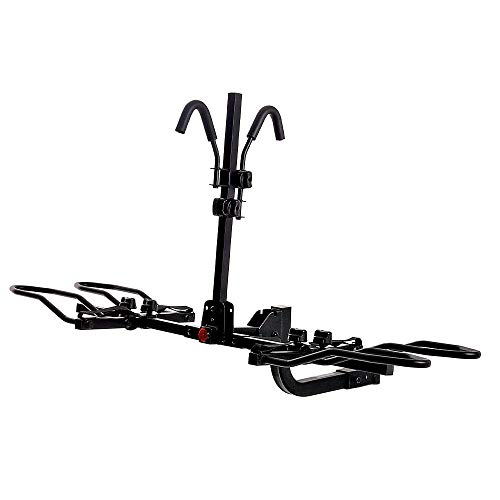 """KAC Overdrive Sports K2 2"""" Hitch Mounted Rack 2-Bike Platform Style Carrier for Standard, Fat Tire, and Electric Bicycles – 60 lbs/Bike Heavy Weight Capacity – Smart Tilting – RV Use Prohibited"""