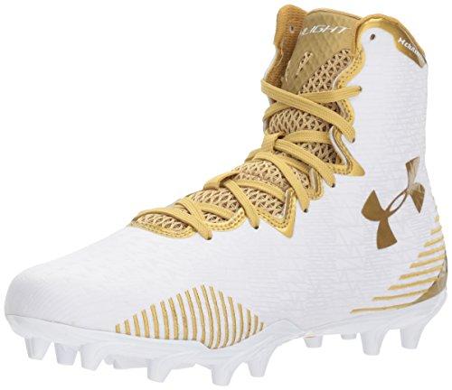 Under Armour Women's Lacrosse Highlight MC Shoe, White (100)/Metallic Gold, 11