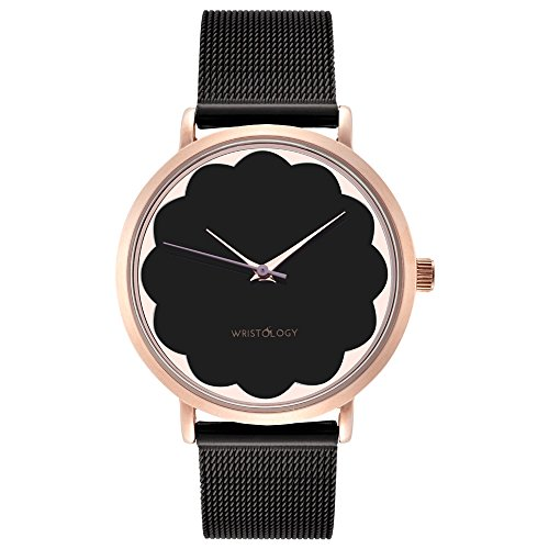 WRISTOLOGY Olivia Womens Watch Scallop Rose Gold Boyfriend Ladies Black Stainless Steel Metal Mesh Strap Band