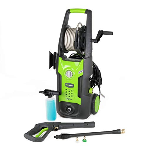 Greenworks 1700 PSI 13 Amp 1.2 GPM Pressure Washer with Hose Reel GPW1702 (Renewed)