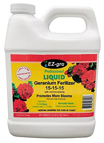 Geranium Fertilizer by EZ-GRO   15-15-15 is a Plant Food for All Geranium Plants   This Plant Fertilizer is Both E Z to Mix and E Z to Use Because it is a Liquid Plant Food