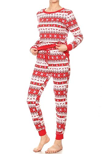 ShoSho Womens Winter Fleece Lined Pajamas Set Joggers Sweatpants + Matching Pullover Sweater Sleepwear Buttery Soft Thermal PJs Cute Reindeer Snow Flake Print White/Red/Green Small