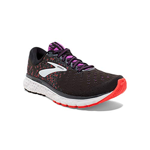 Brooks Womens Glycerin 17 Running Shoe - Black/Fiery Coral/Purple - D - 11.0