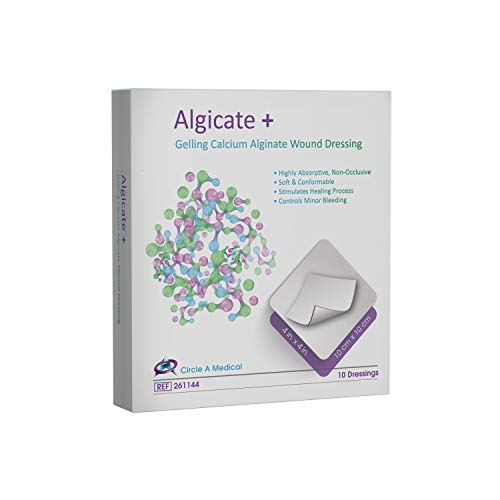 Algicate+ Gelling Calcium Alginate Wound Dressing Sterile, 4' x 4', 100% Flexible, High Integrity Calcium Algnate Fibers, Gentle to Skin and Fast Healing (Box of 10)