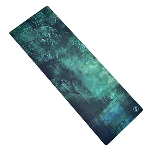 June & Juniper Deluxe Yoga Mat | Eco Non-Slip Non-Toxic | Best Fitness/Exercise Mat | Ideal Mat for Hot Yoga, Pilates, Women, Men | with Carrying Strap | 2-in-1 Extra Long Yoga Mat and Towel Set | Exclusive Hand-Painted Design