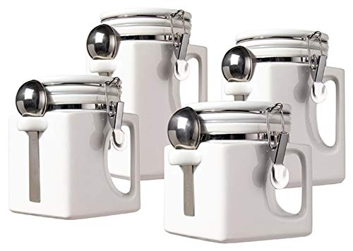Oggi EZ Grip Handle 4-Piece Ceramic Airtight Canister Set, White