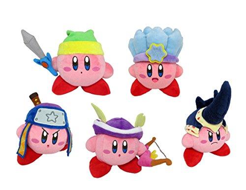 Little Buddy Set of 5 Kirby's Adventure All Star Kirby Stuffed Plushes - 1626 Sword / 1627 Ice / 1628 Ninja / 1629 Sniper / 1630 Beetle, 6'