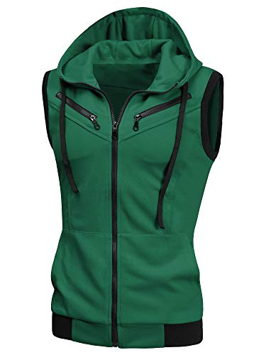 uxcell Men's Halloween Sleeveless Slim Fit Hoodie Vest Zipper Drawstring Gilet Jacket with Pockets Green 44