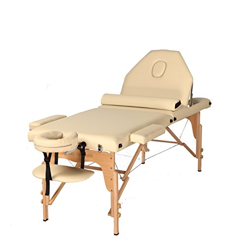 The Best Massage Table 3 Fold Reiki Portable Massage Table Free Half Bolster and Carry Case- PU Leather High Quality (CREAM)