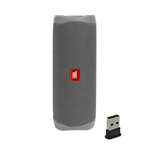 JBL Flip 5 Waterproof Portable Wireless Bluetooth Speaker Bundle with USB 2.0 Bluetooth Adapter - Gray