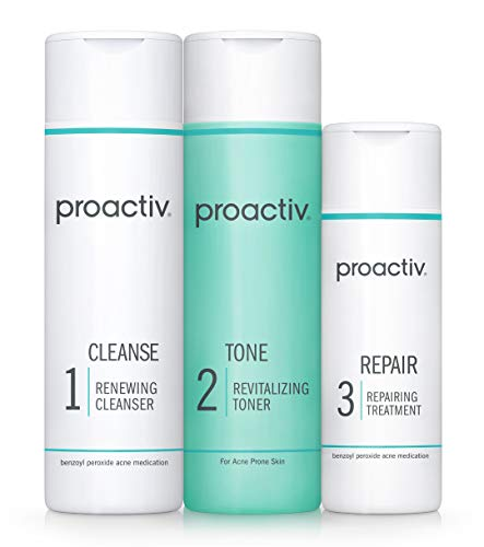 Proactiv 3 Step Acne Treatment - Benzoyl Peroxide Face Wash, Repairing Acne Spot Treatment For Face And Body, Exfoliating Toner - 90 Day Complete Acne Skin Care Kit
