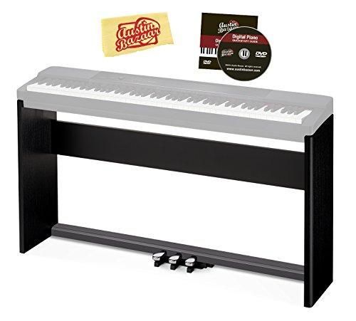 Casio CS-67 Digital Piano Stand - Black Bundle with Casio SP-33 Pedal System, Austin Bazaar Instructional DVD, and Polishing Cloth
