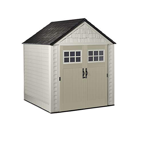 Rubbermaid Outdoor Storage Shed, 7X7, Sandstone