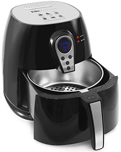 Maxi-Matic Electric Digital Hot Air Fryer Oil-Less Healthy Cooker, Timer & Temperature Controls, 304 Stainless Steel Basket PFOA/PTFE Free, 1400-Watts, Black 3.2 Quart