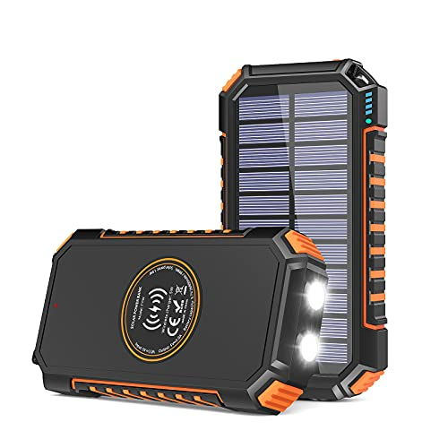 Solar Charger 26800mAh, Riapow Solar Power Bank 4 Outputs USB C Quick Charge Qi Wireless Portable Charger with LED Flashlight for iPhone, Tablet, Samsung and Outdoor Camping