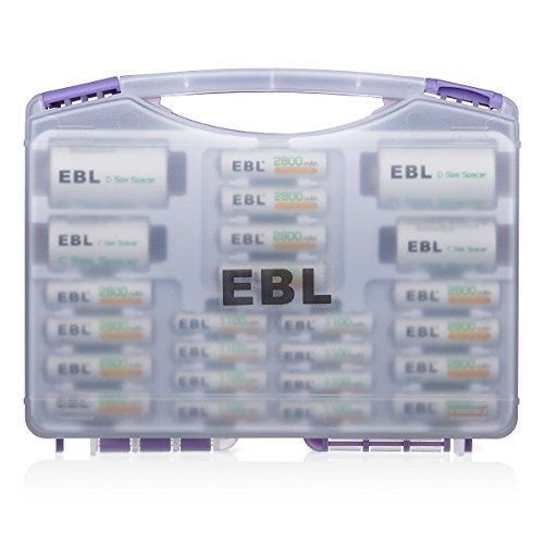 EBL Purple Super Power Battery Box Include : 12 AA Batteries + 8 AAA Batteries +2pcs C/D Adapters