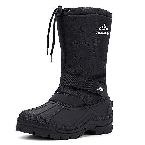 ALEADER Winter Boots for Men, Waterproof Snow Boots Hiking Shoes Black 12 D(M) US
