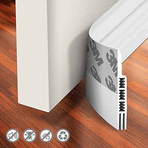 Holikme Door Draft Stopper Under Door Draft Blocker Insulator Door Sweep Weather Stripping Noise Stopper Strong Adhesive White 39' Length