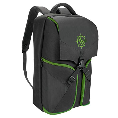 ENHANCE Universal Console Laptop Gaming Backpack for Xbox One, PS4 Pro & VR Sytems - Gear Arsenal Storage for Controllers, Headsets, Games, Mice, Keyboards & Accessories - Green