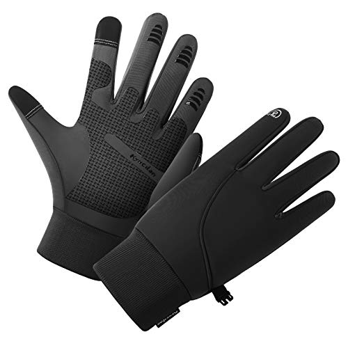 Winter Gloves for Men,Waterproof Thermal Gloves Cold Weather Running Gloves for Men Women, Touchscreen Men's Winter Gloves for Running Cycling Hiking Driving (Black, Large)