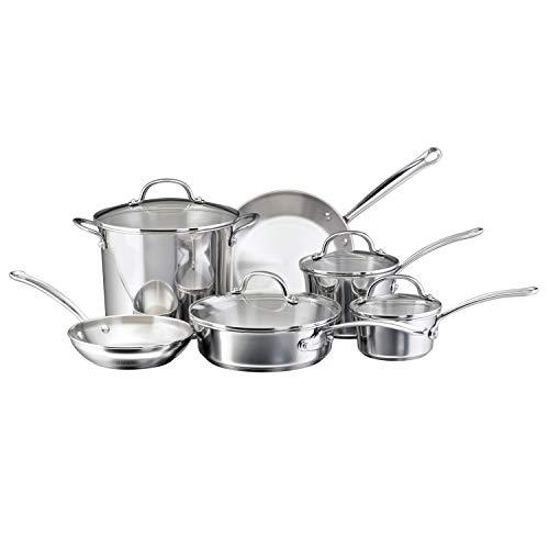 Farberware Millennium Stainless Steel Cookware Pots and Pans Set, 10 Piece
