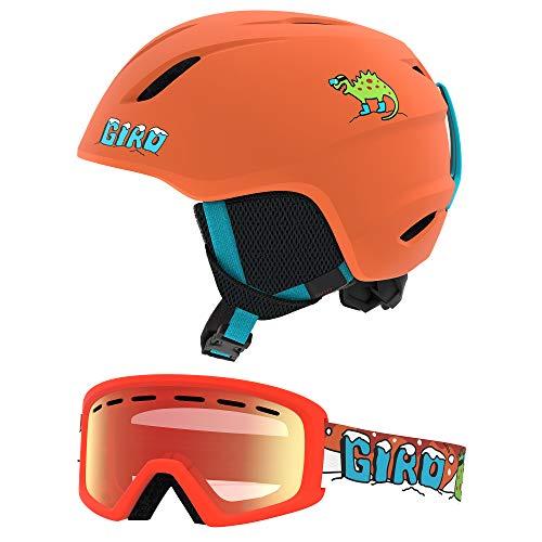 Giro Launch CP Youth Snow Helmet w/Matching Goggles - Matte Deep Orange Dinosnow - Size S (52–55.5cm) (2020)