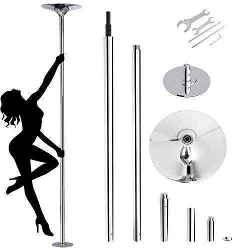 amzdeal Stripper Pole Spinning Static Dance Pole for Home 45mm Portable Removable Dancer Pole Kit for Beginner Fitness Exercise Club Party Pub Home
