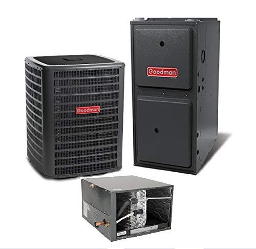 Goodman 1.5 Ton 13 SEER Air Conditioner GSX130181, Horizontal A Coil CHPF1824A6, 40,000 BTU 96% AFUE Upflow/Horizontal Gas Furnace GMSS960403AN