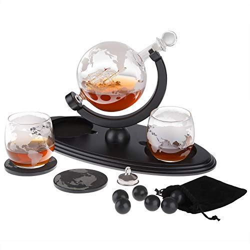 Globe Whiskey Decanter Gift Set by Royal Reserve | Home Bar Decor Liquor Dispenser with Scotch Glasses Coaster and Whiskey Stones – Gift for Men Dad Boyfriend Husband Anniversary or Retirement 850 ML