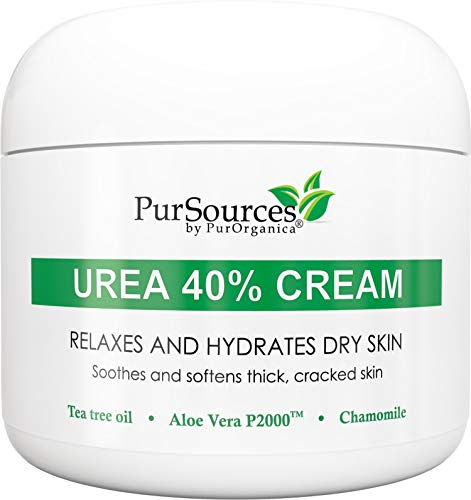 PurSources Urea 40% Foot Cream 4 oz - Best Callus Remover - Moisturizes & Rehydrates Thick, Cracked, Rough, Dead & Dry Skin - For Feet, Elbows and Hands + Free Pumice Stone - 100%