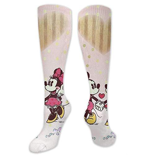Blooming Minnie Mouse Love Mickey Compression Socks Soccer Socks High Socks Long Socks Sports Outdoor for Men Women