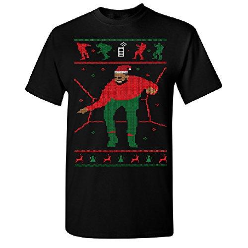 Santa Drake Hotline Bling Men's T-Shirt Dance Ugly Sweater Gift Tee Black X-Large
