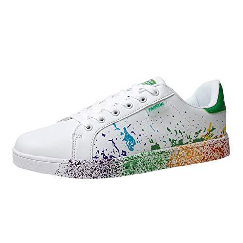 Sunhusing Women's Color Graffiti White Shoes Sports Shoes Running Shoes Men Women Casual Shoes Lovers Shoes (US:9, Green)