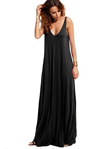 Verdusa Women's Casual Sleeveless Deep V Neck Knitted Shift Sexy Maxi Long Dress Black L