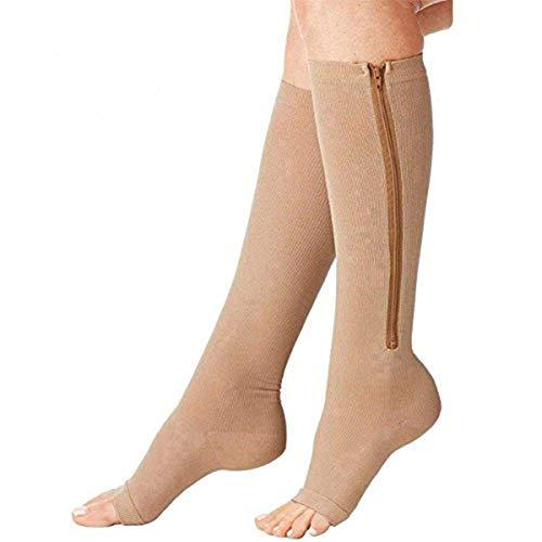 (2 Pairs) New Compression Zip Sox Socks 15-20mmHg Medical Compression Socks Stretchy Zipper Leg Support Unisex Open Toe Knee