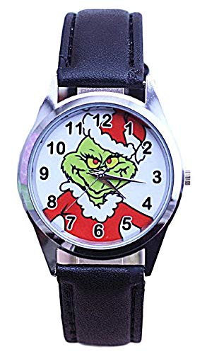 New Horizons Production The Grinch Logo Black Leather Band Wrist Watch