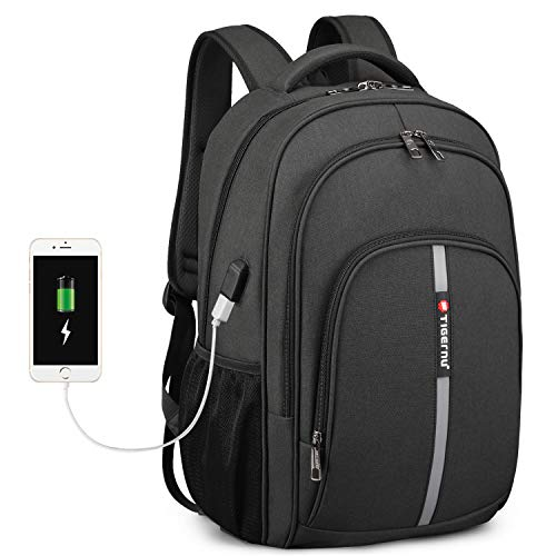 15.6 Inch Laptop Backpack with USB Charging Port, FINPAC Water-Resistant Business Backpacks Large Durable School Bookbag Anti-Theft Travel Daypack for Men, Women, Students