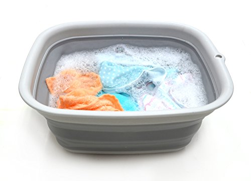 SAMMART 9.45L (2.5 Gallon) Collapsible Tub - Foldable Dish Tub - Portable Washing Basin - Space Saving Plastic Washtub (Grey, M)