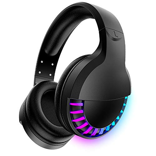 Wireless Bluetooth Headphone with Noise Cancellation HiFi Stereo Sound Mic Deep Bass Protein Earpad Rainbow RGB Backlight Rechageable Over Ear Headset for PC Mac Game Travel Class Home Office(Black)
