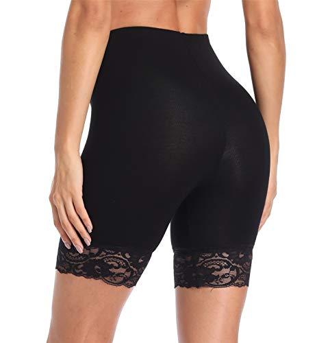 ASIDEMOND Womens Short Leggings Pant with Lace Trim Basis Pants Under Dresses, Black, Small/Medium