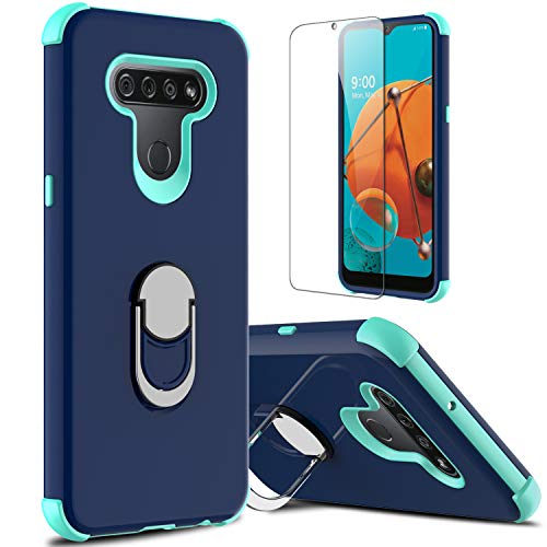 lovpec Case for LG K51 with Soft TPU Screen Protector, Ring Holder Kickstand Shockproof Protective Phone Cover Case Compatible with LG K51/LG Q51/LG Reflect/LG LM-K500UM (Navy)