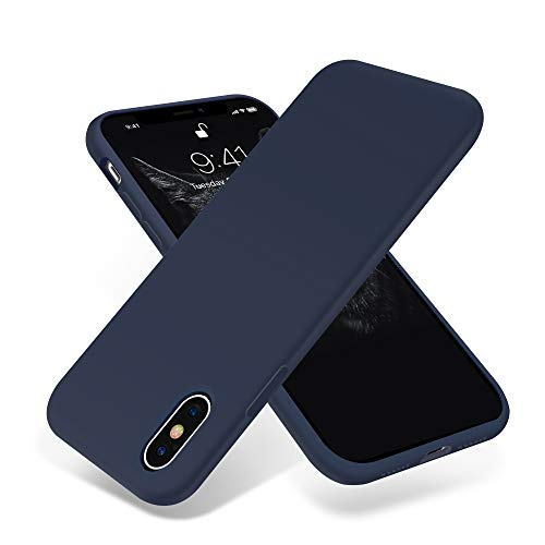 for iPhone X Case, OTOFLY [Silky and Soft Touch Series] Premium Soft Silicone Rubber Full-Body Protective Bumper Case Compatible with Apple iPhone X(ONLY) - Midnight Blue