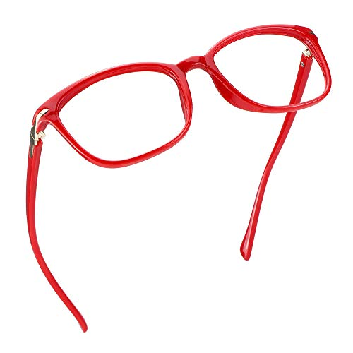 LifeArt Blue Light Blocking Glasses, Anti Eyestrain, Computer Reading Glasses, Gaming Glasses, TV Glasses for Women, Anti Glare (Bright Red, 4.25 Magnification)