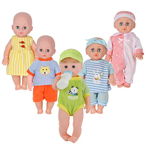 Set of 5 for 11-12-13-14 Inch Newborn Reborn Alive Doll Baby Doll Clothes Dress Costumes Gown Outfits with Feeding Bottle Birthday Xmas Present Wrap