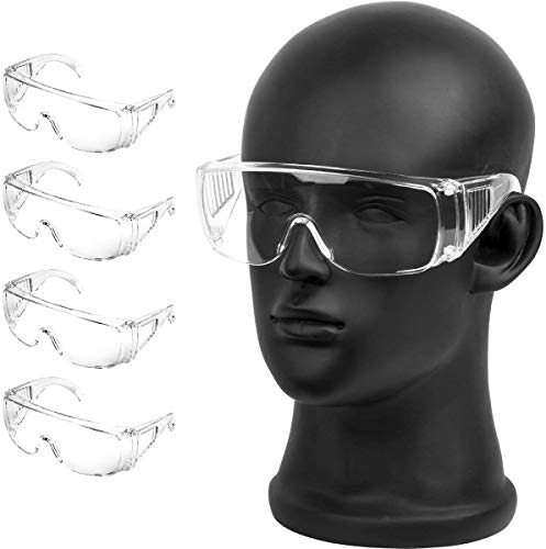 Protective Eyewear Safety Goggles Clear Anti-fog/Anti-Scratch Safety Glasses over Prescription Glasses,Transparent Frame for Men Women Lab Clear 4 Pack