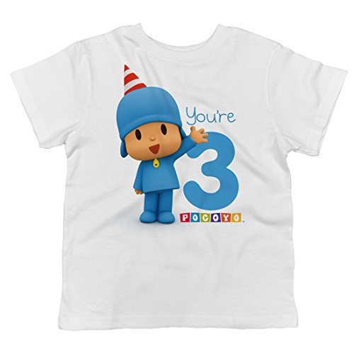 Trunk Candy Pocoyo - Happy Birthday You're 3 Toddler T-Shirt (White, 3T)