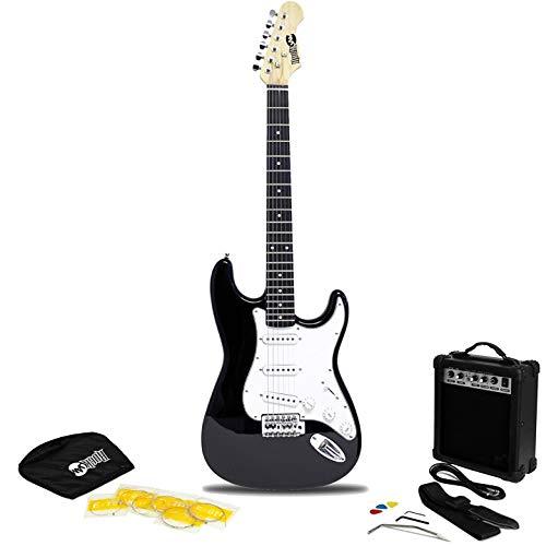 RockJam RJEG02 6 String Electric Guitar Beginner Kit with 10-Watt Amp, Gig Bag & Accessories-Black, Right, (RJEG02-SK-BK)